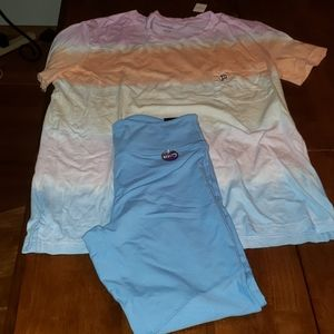 NWT Pink outfit with mesh leggings Sz Medium